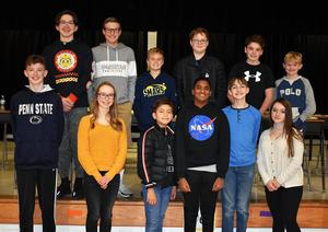 Mars Area students (back row, from left) Nicholas Ferrari, Ethan Vitale, Luke Hagen, Evan Szafranski, Joseph Compton, Colton Rearick, (front row) Tyler Raabe, Gabrianna Salvini, Julian Coquelet, Nameer Dheen, Mitchell Kulfan and Ava Geary participated in the 2019-2020 Mars Area Geography Bee Final Round Qualifier, held Nov. 8 at Mars Area Centennial School.
