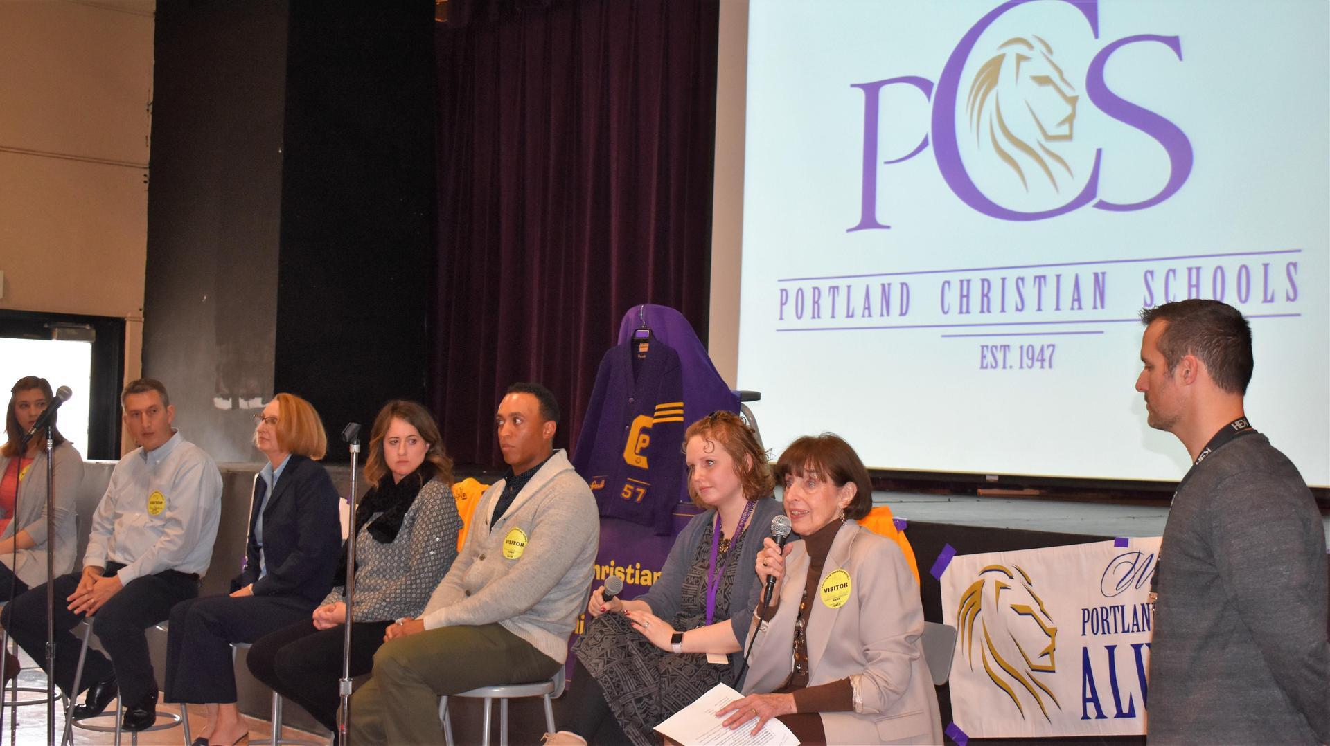 PCS Alumni share at Jr/Sr HS chapel