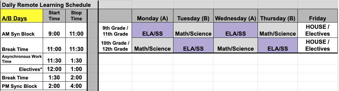 2020-2021 Remote Learning Schedule