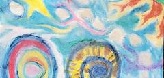 student artwork showing a colorful sky with a sun, star, clouds and various shapes