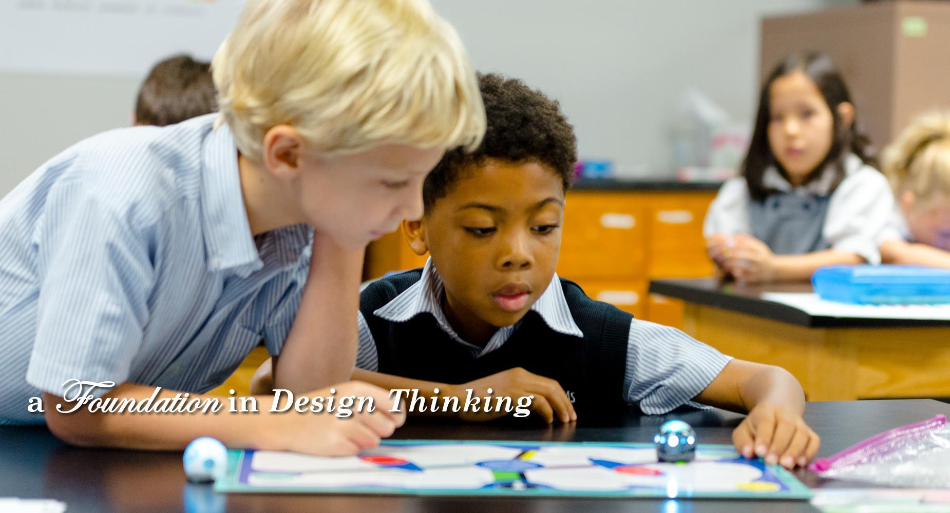 A Foundation in Design Thinking with students learning to code with robots