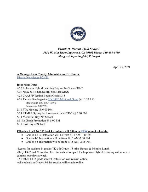 FDP Weekly Update 4/25/21