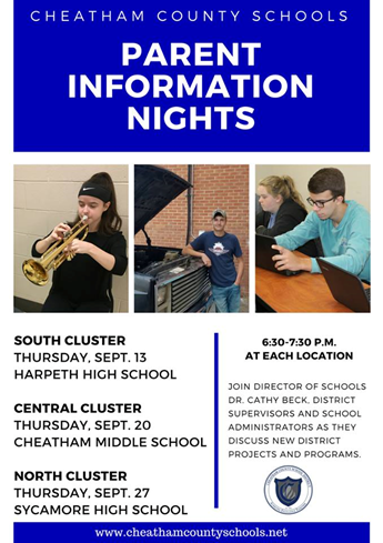 Parent Information Night Dates.  Dates are located in message.