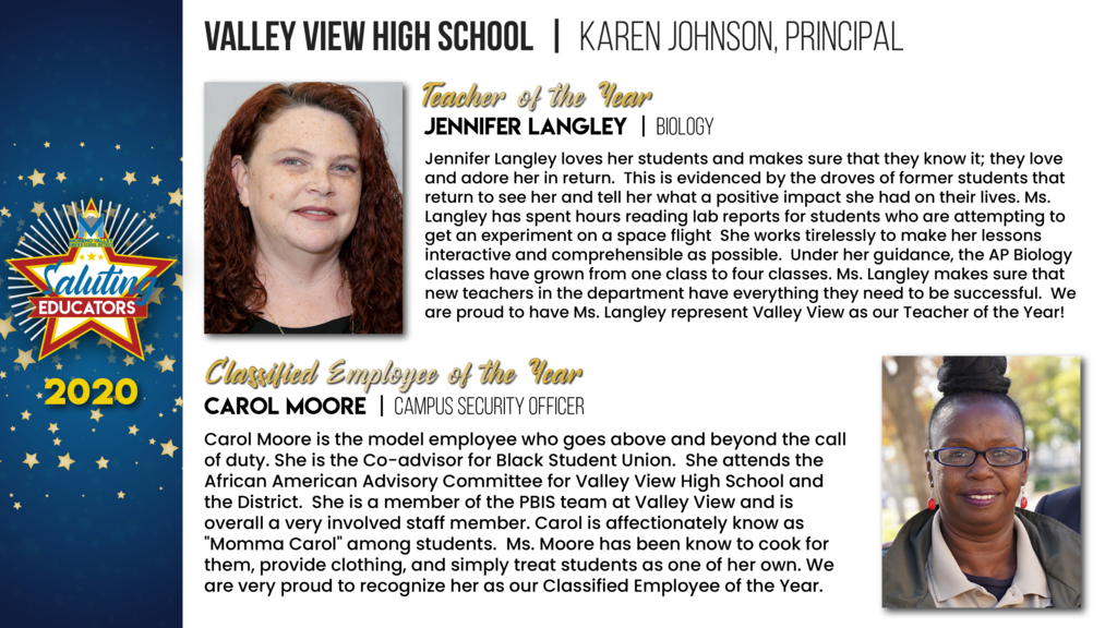 Valley View High School Employees of the Year