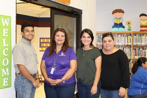 Ms. Linda Sanchez (principal) along with Betty Trejo, Tony Trejo, and Ina Trejo.