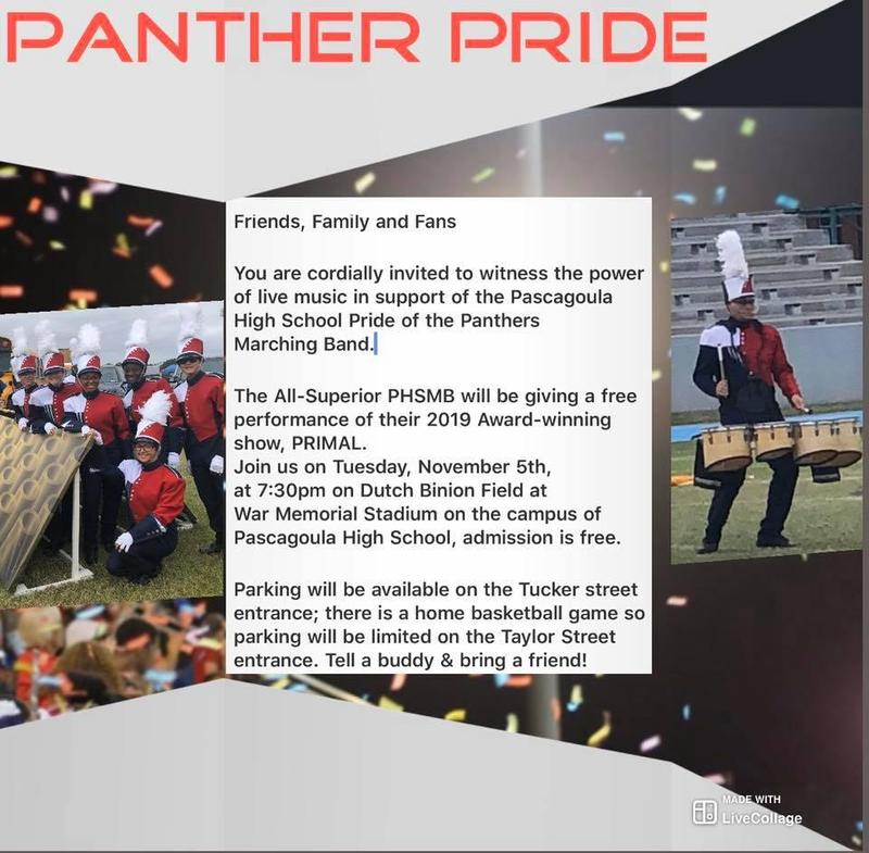 You Are Invited to the Panther Pride Band  2019 Award-winning Show Primal