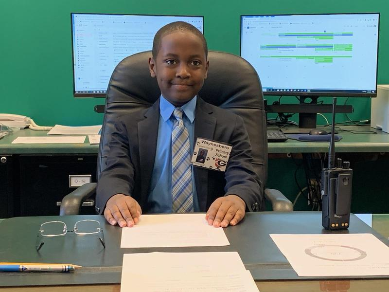 Cameron Dent as principal for the day.