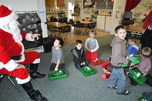 children, santa and gifts