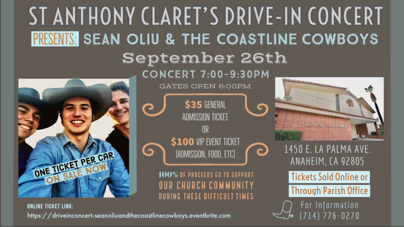 Sean Oliu & The Coastline Cowboys Drive In Concert for St Anthony Claret Featured Photo