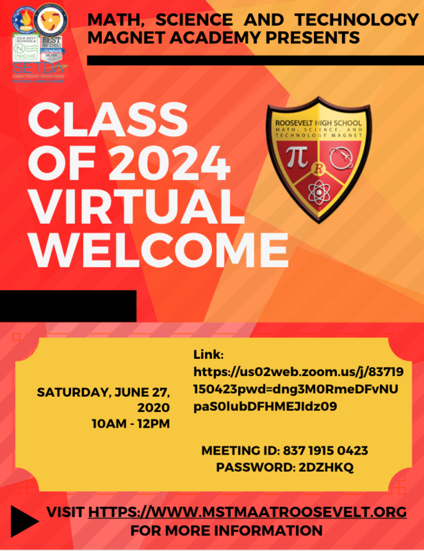 Class of 2024 Virtual Welcome on Saturday, June 27!  ¡Bienvenida virtual para la generación de 2024 el sábado, 27 de Junio! Featured Photo