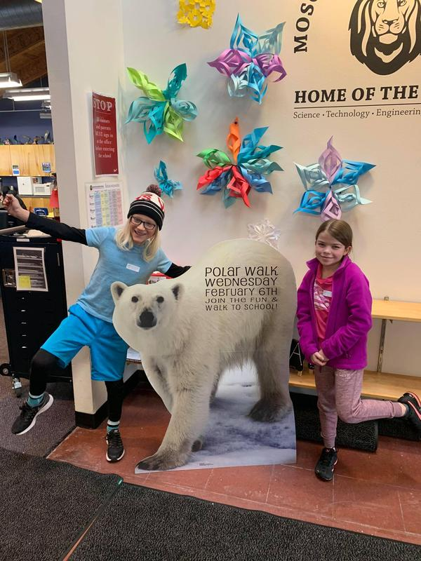 3rd Grade Students with the Polar Bear for our Polar Walk
