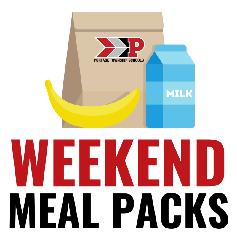Weekend meal packs graphic with bag, banana, and milk