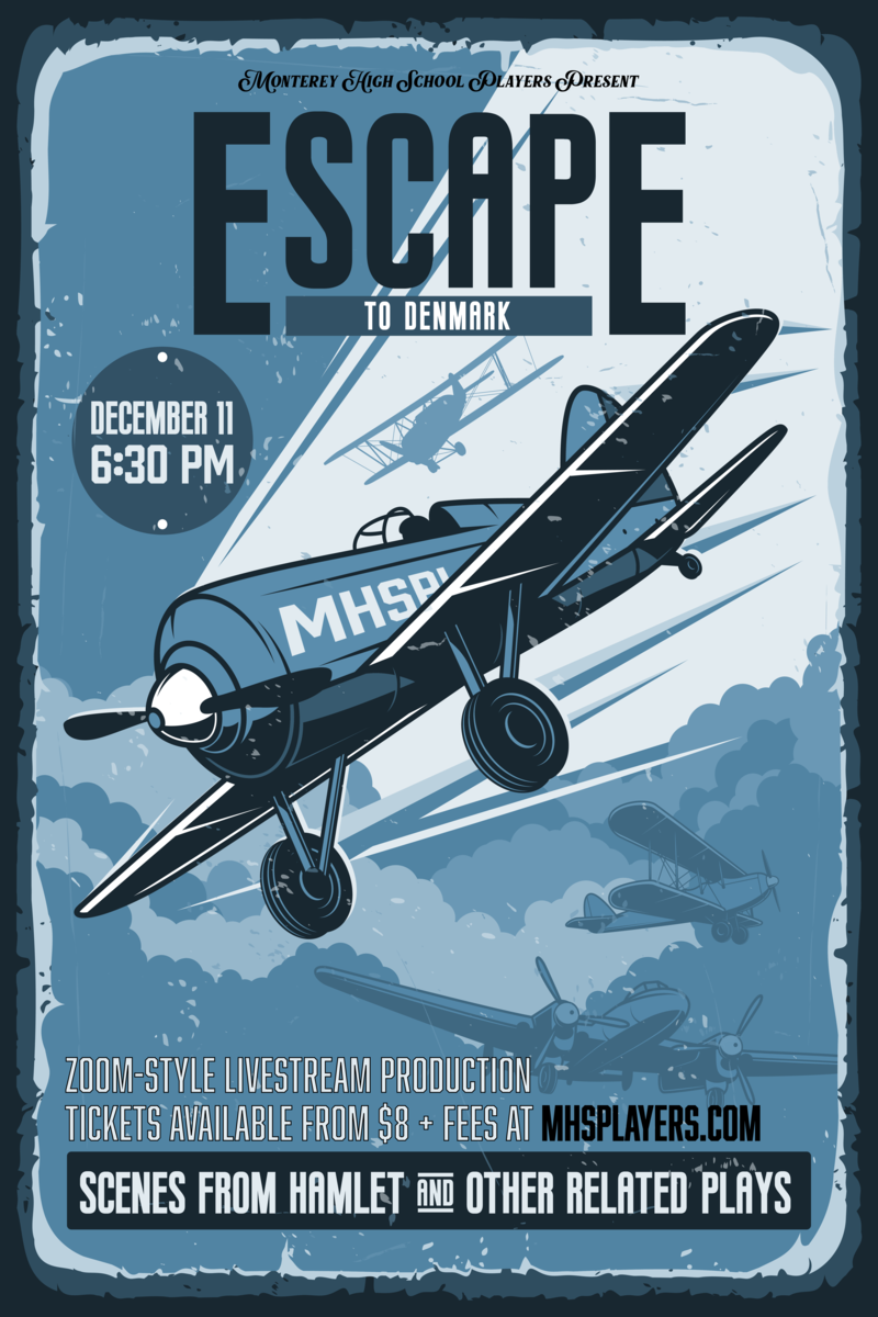 Escape to Denmark theatre poster with planes