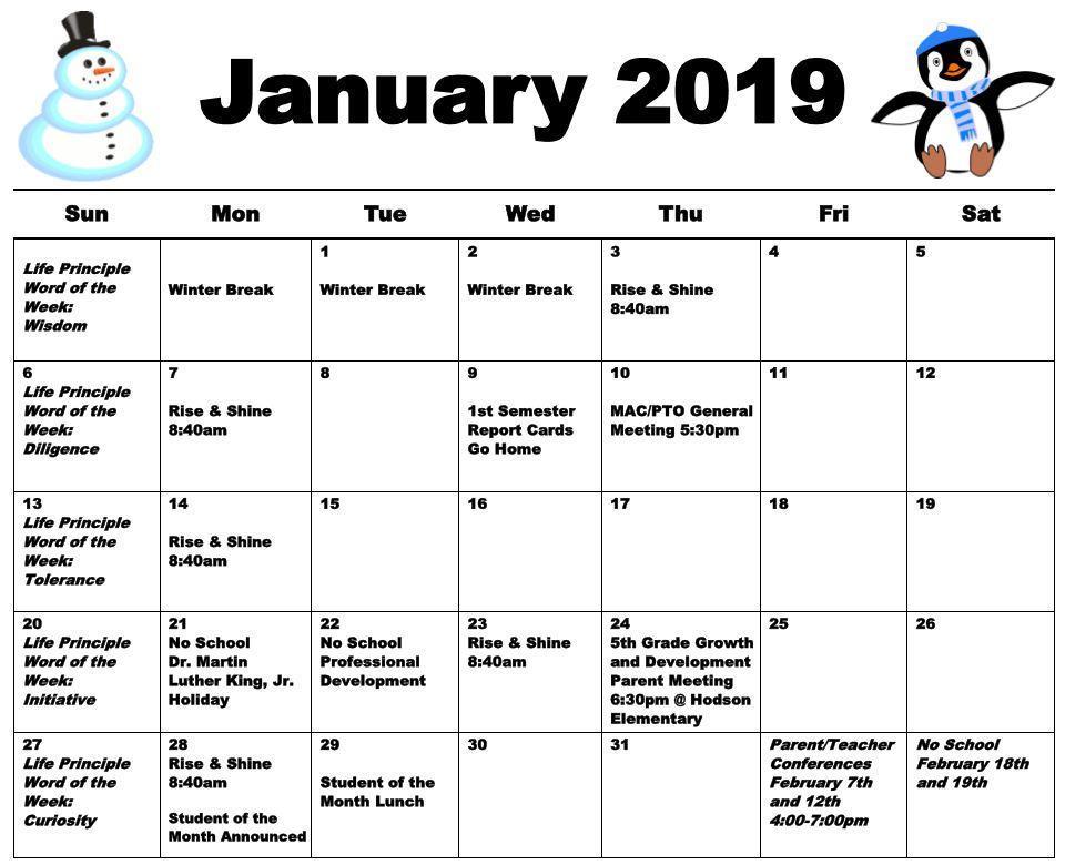 January 2019 Mills Calendar