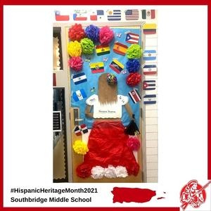 A classroom door at Southbridge Middle School decorated for Hispanic Heritage Month