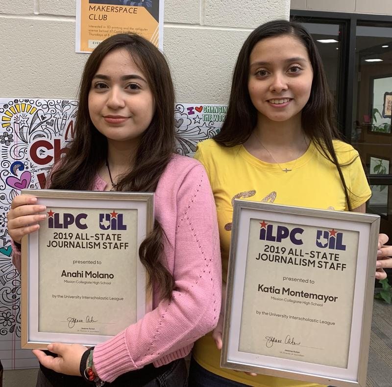Congratulations to MCHS Seniors, Anahi Molano and Katia Montemayor for being named to the 2019 UIL-ILPC All-State Journalism Staff! Featured Photo