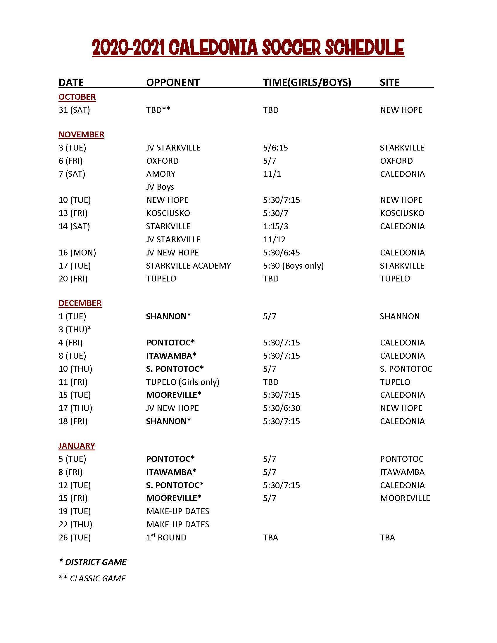 2020 Soccer Schedule