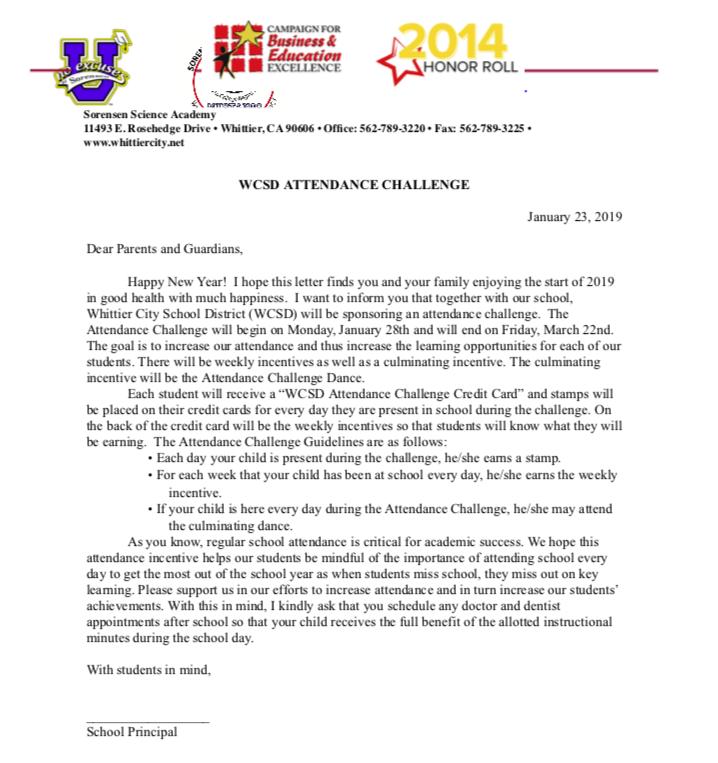 attendance letter challenge