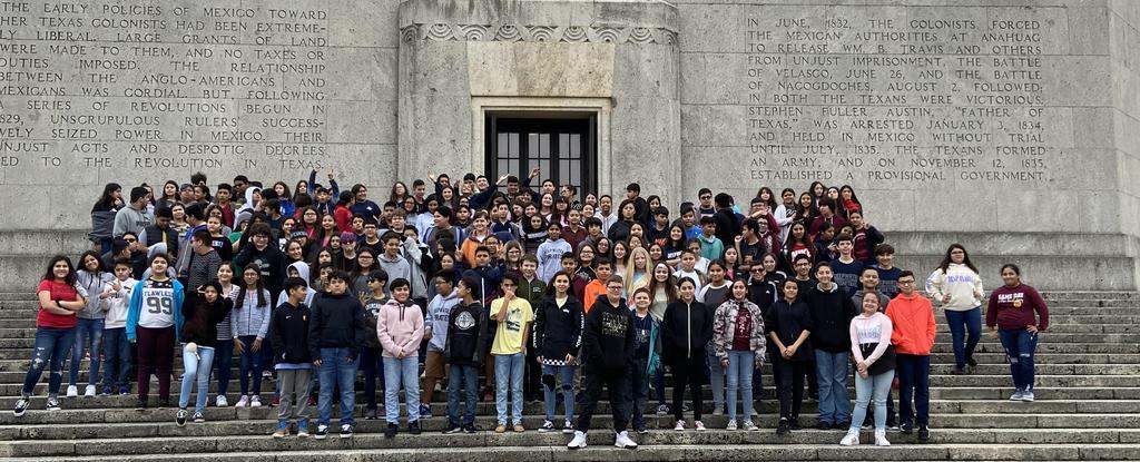 Students at San Jac Monument