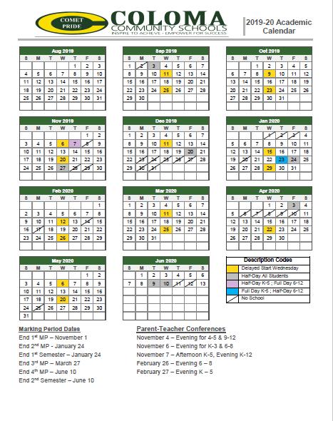 Picture of academic calendar