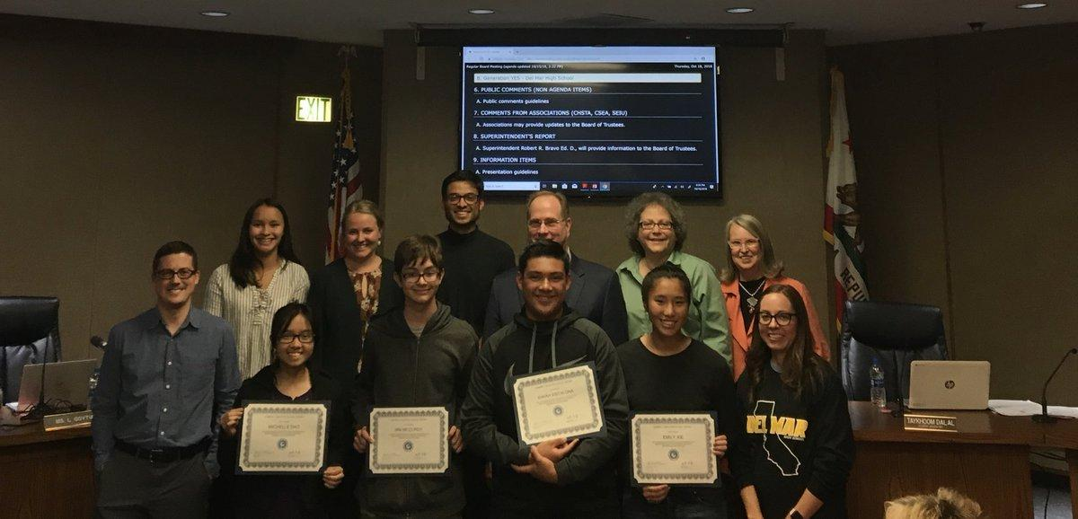 GenYes Students receiving awards at the CUHSD board meeting
