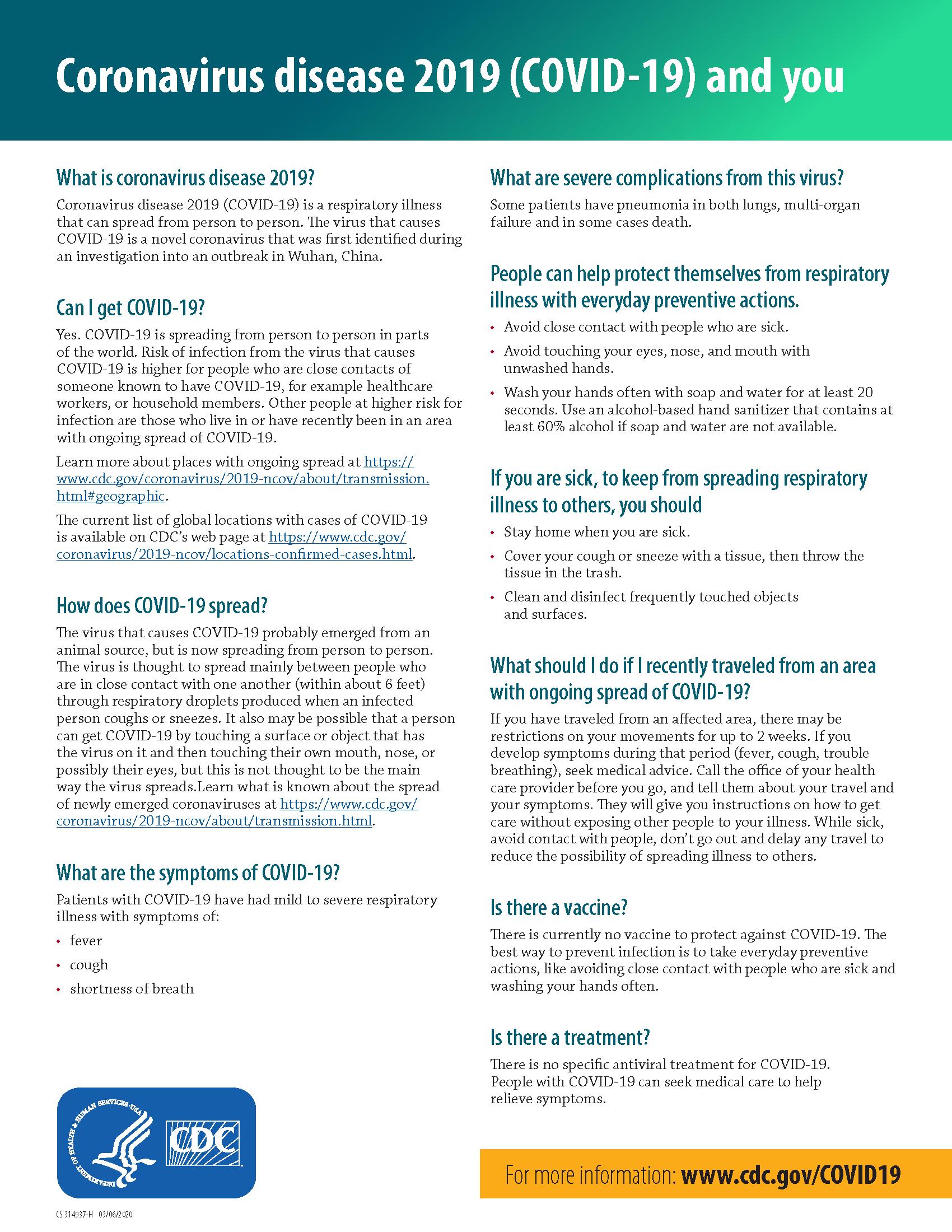 CoVID-19 Fact Sheet