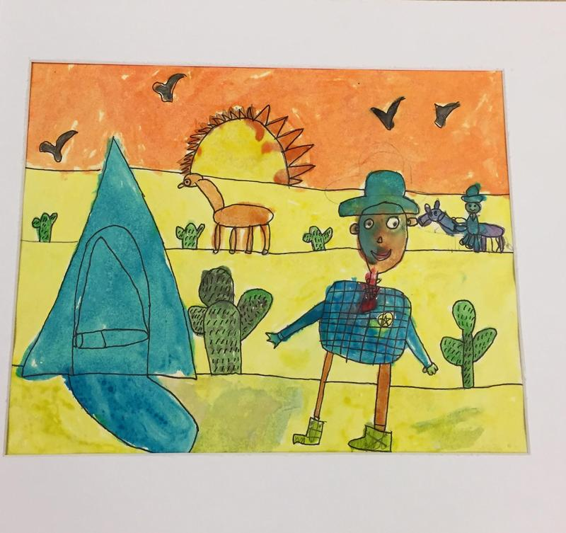 art work created by first grader Bhooshit who is entered into the art contest