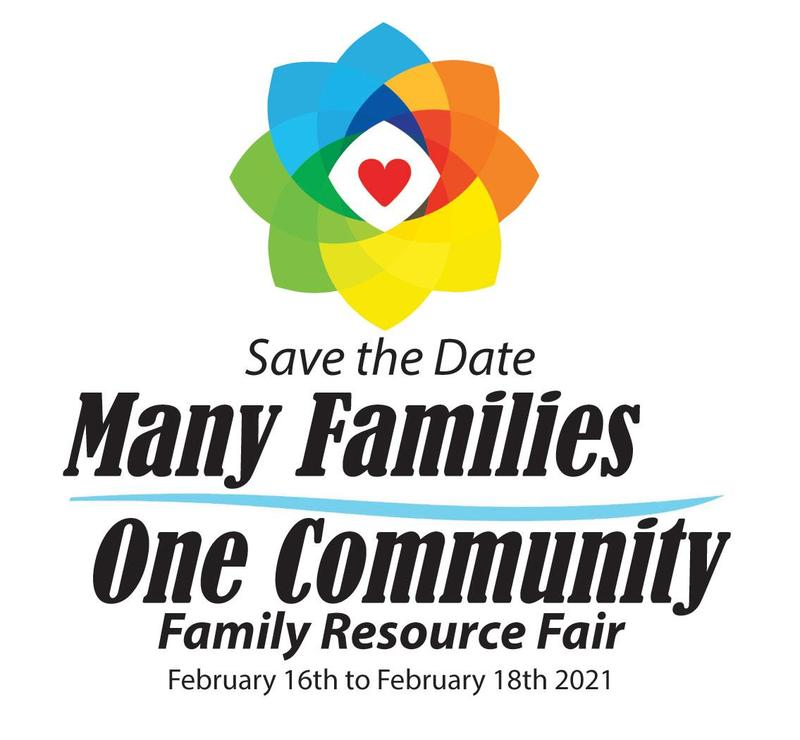 An image of a red heart surrounded by rainbow geometric shapes to form a floral motif with the words: Save the Date Many Families One Community Family Resource Fair February 16th to February 18th 2021