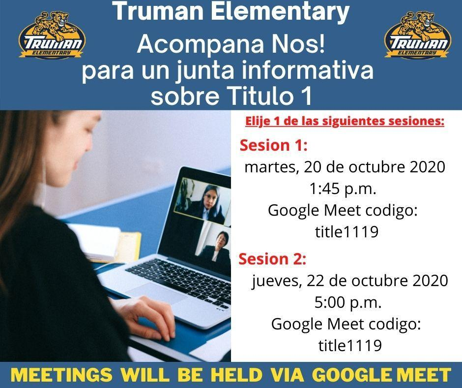 Title 1 Information Meeting Flyer