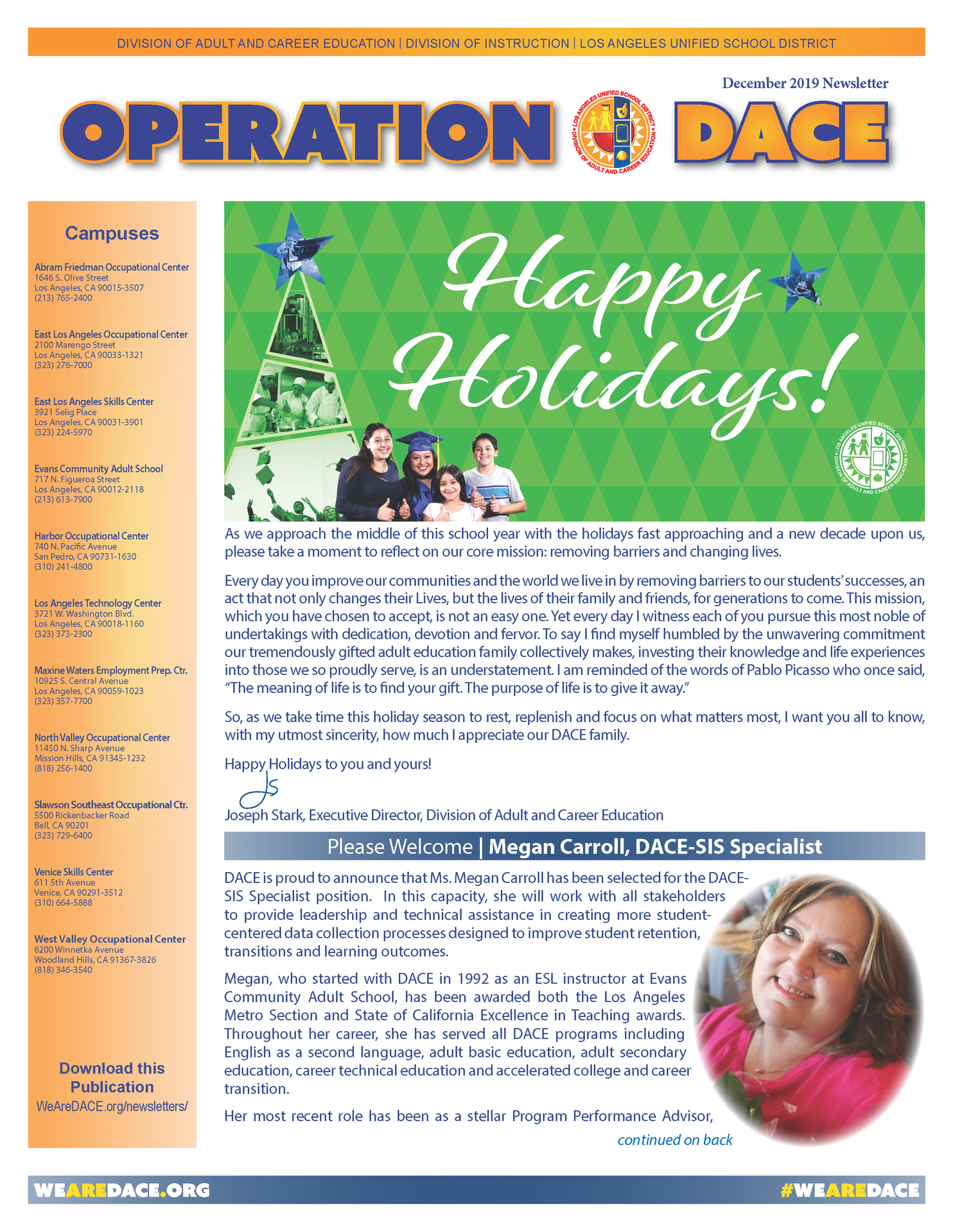 DACE Operations Newsletter - December 2019