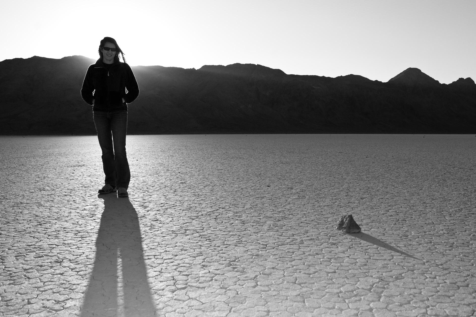 Black and white photo standing on the Racetrack in Death Valley
