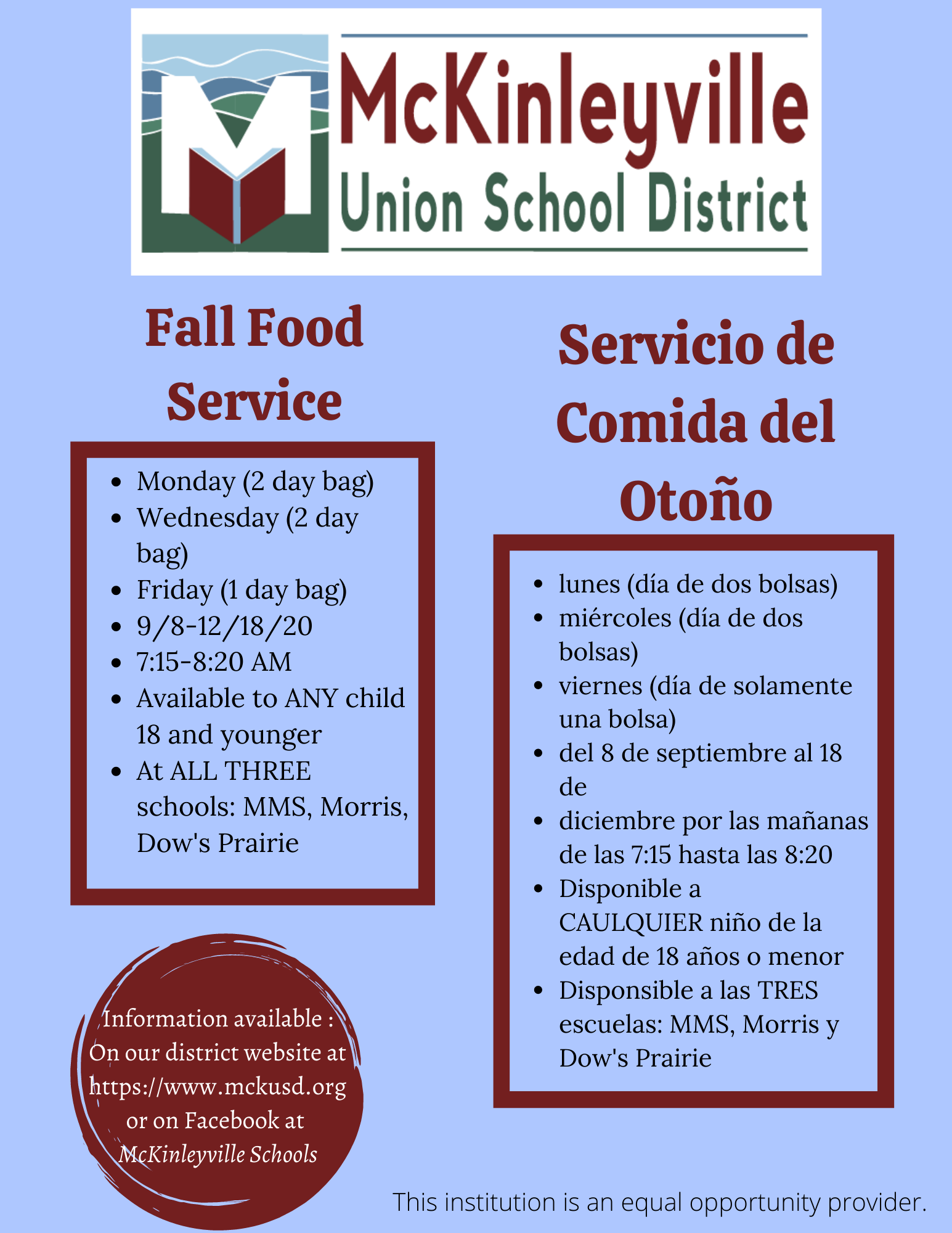 Fall Meal schedule