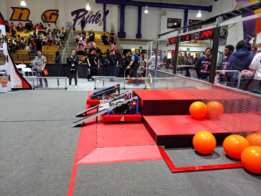 Rampage ready for a robot to drive up the ramps