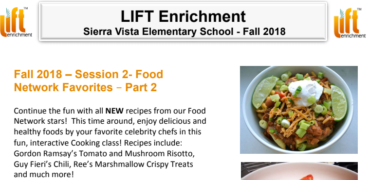 LIFT Enrichment Session 2 Fall