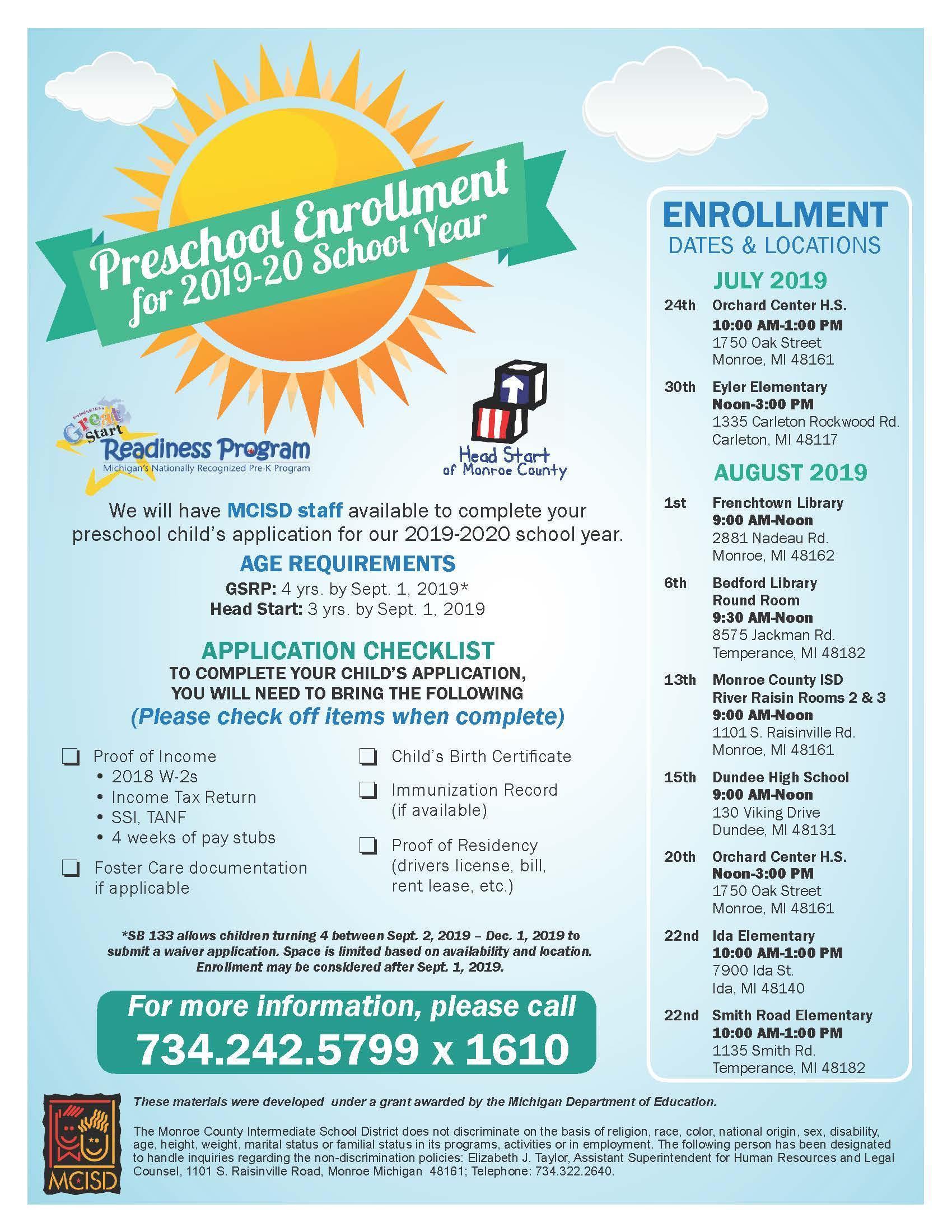 Head Start Summer Enrollment