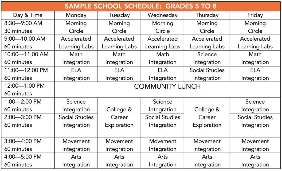 School Schedule – Approach – Equity Lab Charter School