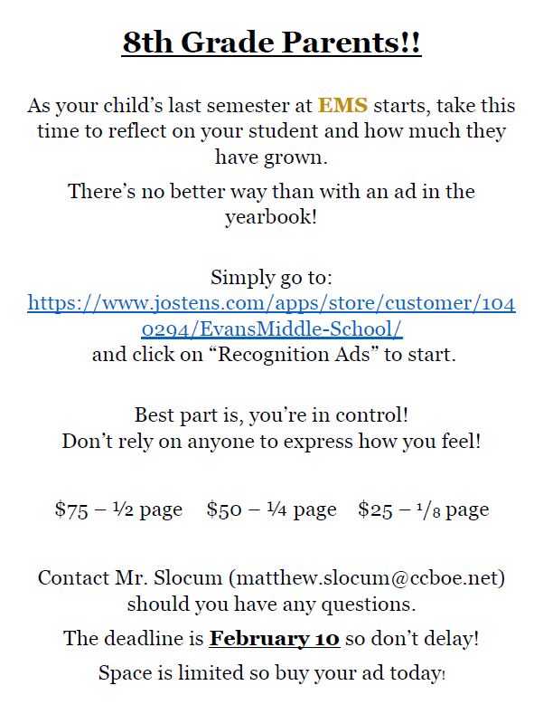 8th Grade Ads information