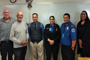 L to R: Mark Lawrence (DACE Navigator), Lane Bragg (LATC Security Instructor), Vincent Imamoto (West Adams WorkSource Vocational Counselor), Kelly Mejia & David San (TSA Officers) and Renee Hillman (TSA HR Specialist)