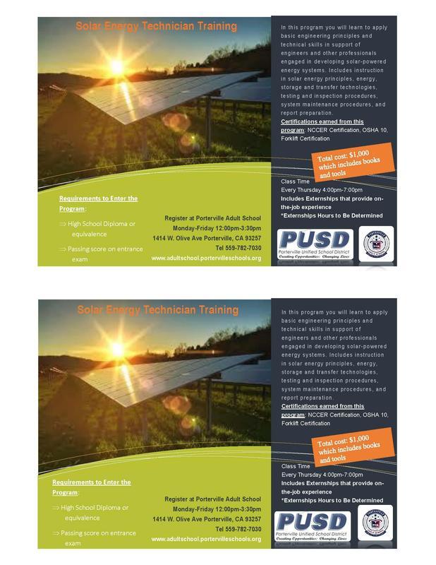 Solar Training Program Information. Solar farm picture