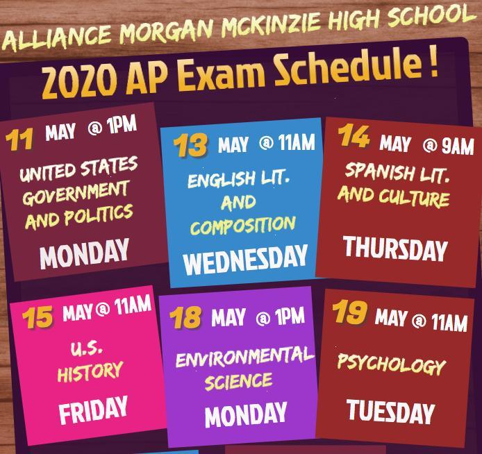 2020 AP Exam Schedule