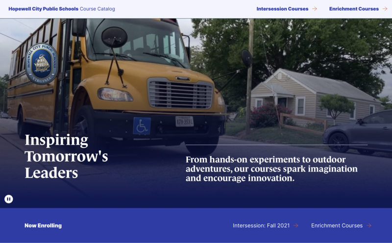 the image is a screen shot of the HCPS intersession course catalog. there is a photo of a yellow bus on a blue background. there are the words