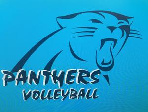 panther's volleyball written on a banner