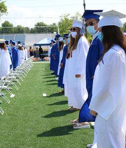 Photo of WHS graduates lined up during ceremony