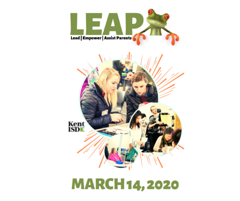 LEAP logo with frog and text March 14 2020 with stock photo of parents