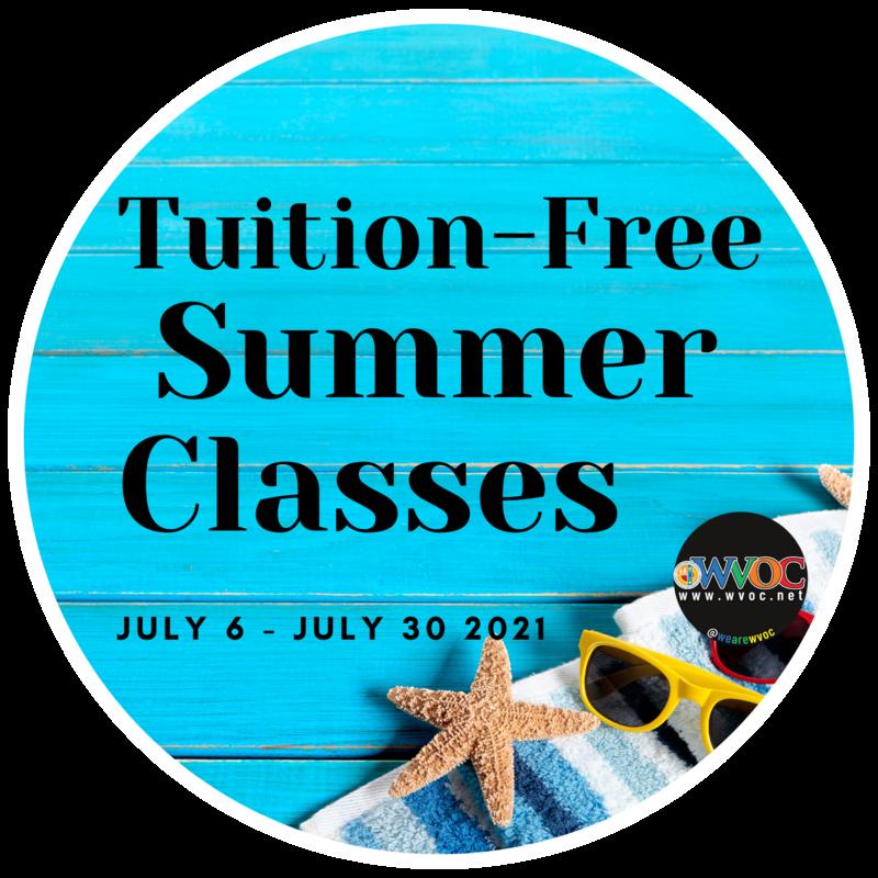 Beach-themed announcement for summer classes