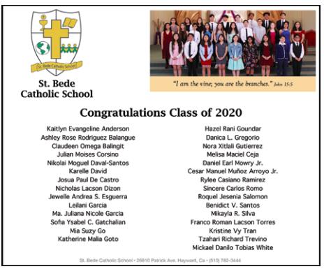 Congratulations c/o 2020 Hornets!