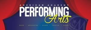 Performing Arts logo with blue background and red curtains.