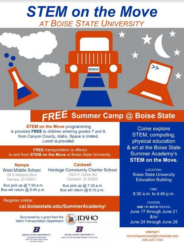 Free Summer Stem Camps for incoming 7th and 8th Graders! Thumbnail Image