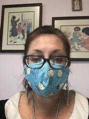 Dr. L wearing her mask