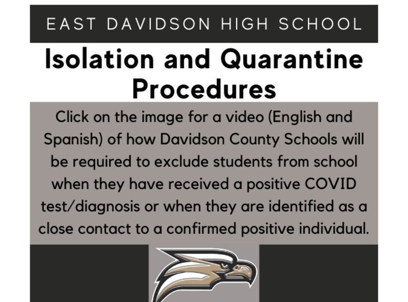 Click on the image for a video (English and Spanish) of how Davidson County Schools will be required to exclude students from school when they have received a positive COVID test/diagnosis or when they are identified as a close contact to a confirmed positive individual.